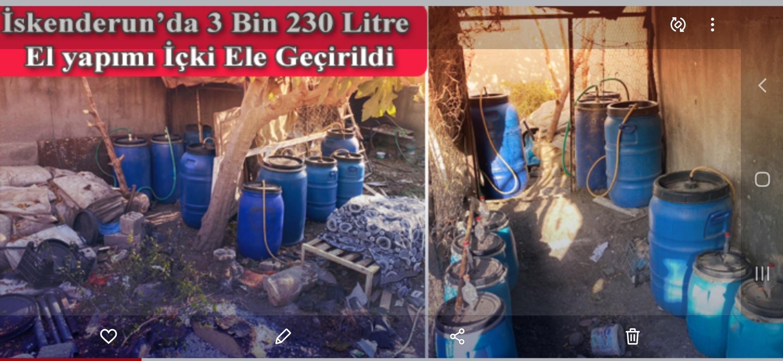 İskenderun'Da 3 Bin 230 Litre El Yapımı İçki Ele Geçirildi